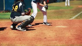 Catcher and batter waiting for pitch during baseball game. stock footage