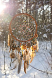 Χειροποίητο catcher ονείρου colorfull στο χιονώδες δάσος Στοκ Εικόνες