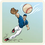 The Catcher. Illustration with leaping outfielder who tries to catch the ball drawn in vintage style vector illustration