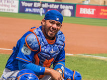 Catcher Rene Rivera New York Mets 2017. Rene Rivera squats on field in spring training game for New York Mets 2017 royalty free stock photography