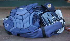 Catcher`s Gear belonging to the Charleston RiverDogs.  stock image