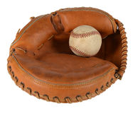 Catcher's Mitt with Baseball Royalty Free Stock Photography