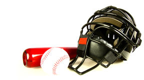 Catchers Helmet and bat with ball Stock Image