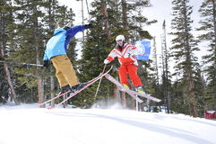 Catching Air: Skier Ballet, Beaver Creek, Eagle County, Colorado Royalty Free Stock Image