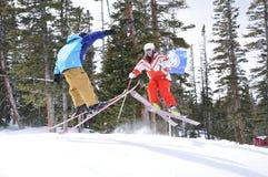 Catching Air: Skier Ballet, Beaver Creek, Eagle County, Colorado. Powder day, Blue Bird Day, Avon. Alpine Dreams, LIfe at 12,000 feet elevation. Snowboard Sick Royalty Free Stock Image