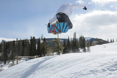 Catching Air: Snowboarder Ballet, Beaver Creek, Eagle County, Colorado. Powder day, Blue Bird Day, Avon. Alpine Dreams, LIfe at 12,000 feet elevation Stock Images