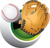 Catching a baseball. An illustration of a hand with a baseball mitt, emerging from a sphere to catch a baseball. EPS file is available Royalty Free Stock Photography