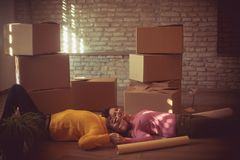Catching a break while moving house stock photo
