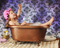 Catching Bubbles from a Tub Royalty Free Stock Images