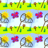 Catching a butterfly seamless background design Stock Images