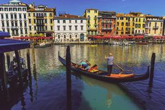 Catching driver of gondola in Venice royalty free stock photos