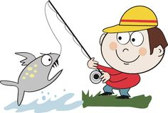 Catching fish cartoon Royalty Free Stock Photos