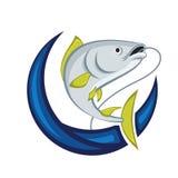 Catching Fish Emblem Royalty Free Stock Photo