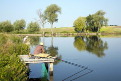Catching of fish fishermen Royalty Free Stock Images