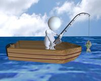 A 3d man fishing from a boat and catching a fish royalty free stock photo