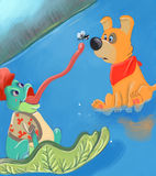 Catching a fly. Frog trying to catch a fly royalty free illustration