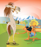 Catching a horse. Illustration of a young native american boy trying to catch a horse with a sugar in his hand. Dusk behind the mountains Royalty Free Stock Photos