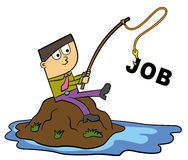 Catching a job. A man in business attire catched a job word with his fishing pole Royalty Free Stock Photography
