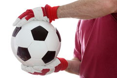 Catching a leather ball royalty free stock image