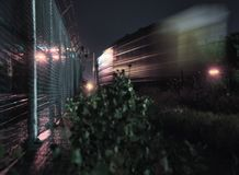 Catching lights and freights stock image