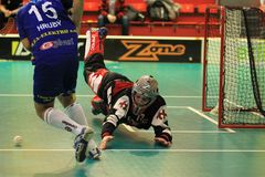 Catching Martin Zich in floorball Stock Photos