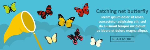 Catching net butterfly banner horizontal concept Stock Images