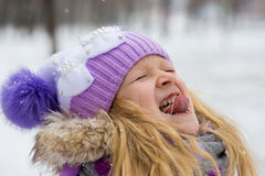 Catching a snowflakes Stock Photos