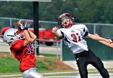 Catching the Touchdown Pass Royalty Free Stock Images