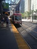 Catching a train in downtown Calgary. Exploring beautiful scenic Calgary city Royalty Free Stock Photo