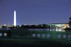 Washing DC 7. Washington Monument night view from the tidal Basin in early spring royalty free stock image