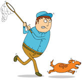 Catching wild dog. A man try to catch a running dog Royalty Free Stock Photo