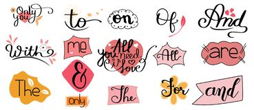 Catchwords Collection Romantic with Handwritten font. Prepositions vector set. Illustration catchwords. I Love You.
