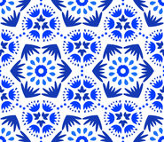 Catchy Indigo Blue Flower Pattern. Blue Flower Pattern. Seamless Boho Background. Hexagon design element. Vector illustration for wallpaper print, linen fabric Royalty Free Stock Photography