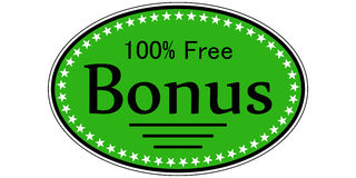 Catchy sticker bonus 100 percent free. Sticker bonus 100 percent free, it`s a catchy label for gift and promotion sales, vector template sticker free bonus Royalty Free Stock Images