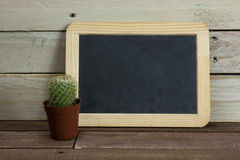 Catcus and blackboard against a wood background Royalty Free Stock Image