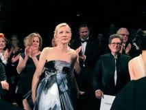 Cate Blanchett After första rastrering av lovsången på Cannes arkivbild