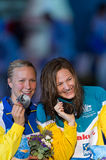 Cate Campbell ( Australia) and Sarah Sjostrom ( Sweden) Royalty Free Stock Image