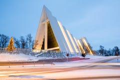 Catedral ártica Noruega de Tromso imagem de stock