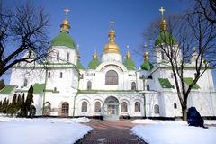 Catedral antiga de Sophia de Saint em Kiev na neve fotografia de stock royalty free