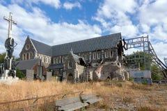 catedral arruinada en Christchurch fotos de archivo libres de regalías