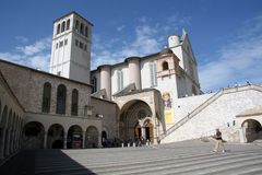 Catedral Assisi Italia de San Francisco Foto de archivo