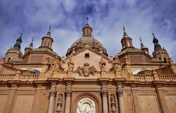 Catedral-basílica da basílica de nossa senhora da coluna de Zaragoza fotos de stock royalty free