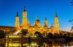 A Catedral-basílica de Nuestra Senora del Pilar em Zaragoza - Espanha fotografia de stock