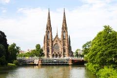 Catedral central de la iglesia de Straburg Foto de archivo libre de regalías