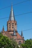 Catedral Christian Church Tower Spire de Karlsruhe Christuskirche fotos de archivo libres de regalías