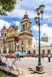 Catedral da Cidade da Guatemala em Plaza de la Constitucion, Guatema fotos de stock