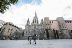 A catedral da cruz e de Saint santamente Eulalia, Barcelone, Sp Foto de Stock Royalty Free