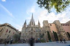 A catedral da cruz e de Saint santamente Eulalia, Barcelone, Sp Foto de Stock