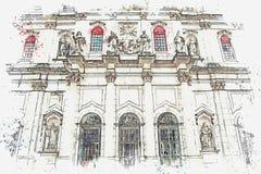 Catedral da Dinamarca Estrela da basílica da ilustração em Lisboa, Portugal ilustração royalty free