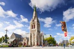 Catedral da igreja de Cristo, uma catedral anglicana deconsecrated na cidade de Christchurch, ilha sul, Nova Zelândia imagem de stock royalty free